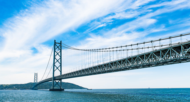 View of the Akashi-Kaikyo Bridge from the cruise party