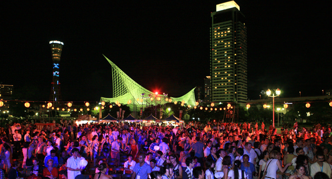 An outdoor party at Meriken Park